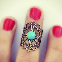 knuckle ring in turquoise, above the knuckle ring, turquoise ring, antique brass ring, unique ring