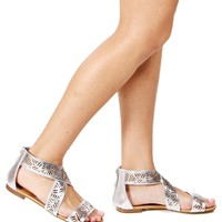 SALE-Silver Laser Cut Out Gladiator Sandals