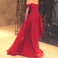 Cheap Custom Made Red Chiffon Strapless Floor-Length Prom Dress, Bridesmaid Dress, Formal Dress, Cheap Evening Dress