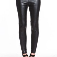 OIL SLICK FAUX LEATHER LEGGINGS