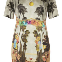 Deer Print Satin Shift Dress