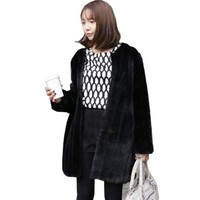 Fasion Women Faux Rabbit Fur Coat Plus Size Warm Parka Ladies Fluffy Overcoat