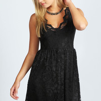 Shelly Lace Scallop Skater Dress