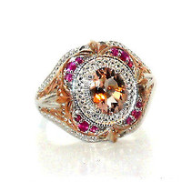 MORGANITE AND PINK SAPPHIRE RING 2.00ctw size 8