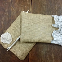 Burlap Clutch Bridesmade Gift Rustic Wedding