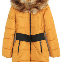 ROMWE | ROMWE Belted Faux Fur Collar Yellow Down Coat, The Latest Street Fashion