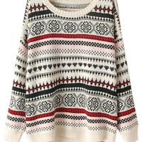ROMWE | ROMWE Asymmetric Ethnic Knit Cream Jumper, The Latest Street Fashion