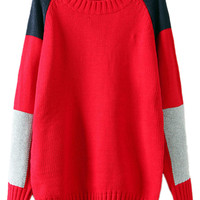 ROMWE | ROMWE Color Block Diamond Red Jumper, The Latest Street Fashion