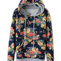 ROMWE | ROMWE Floral Print Hooded Drawstrings Blue Hoodie, The Latest Street Fashion