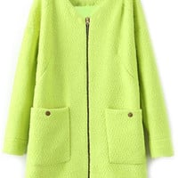 ROMWE | Loose Zippered Fluorescent-green Woolen Coat, The Latest Street Fashion