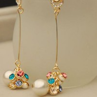 Dangling Pearl Grapes Rhinestone Earrings