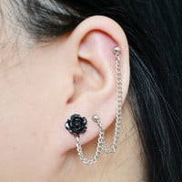 Black Rose Triple Pierce Cartilage Earring