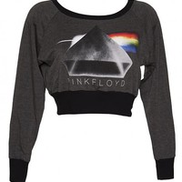 Ladies Grey Marl Pink Floyd Cropped Sweater From Dirty Cotton Scoundrels : TruffleShuffle.com