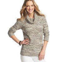 Marled Pointelle Detail Turtleneck Sweater