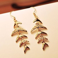 Lucky Fish Bones Fashion Earrings