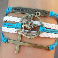 "Hunger games letty retro inspired Mockingjay bird bracelet,cross bracelet,""Where there is a will, there is a way"",Christmas gift"