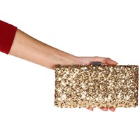 Gold Sequin Box Clutch