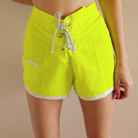 Vintage 1990's Neon Yellow High Waisted Shorts
