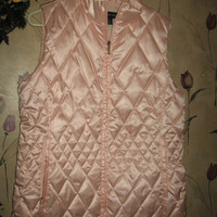 Womens Vintage Lands End PINK SHINY Puffy Nylon Outerware Vest, size Large- 14 to 16