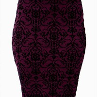 Damask Flock Pencil Skirt