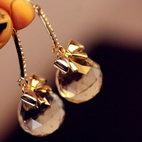 Crystal Balls On Bow Fashion Earrings