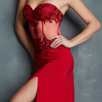 (PRE-ORDER) Night Moves by Allure 2014 Prom Dresses - Red Jersey & Beaded Bustier-Style Prom Dress