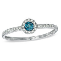 1/5 CT. T.W. Enhanced Blue and White Diamond Stack Ring in Sterling Silver