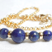 Lapis Lazuli Necklace with Gold Filled Rondelles and by seemomster