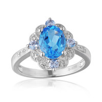 Oval Swiss Blue Topaz, White Topaz and Aquamarine Ring in Sterling Silver