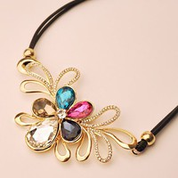 Colorful Crystal Flower Statement Necklace