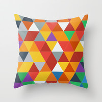 Triangle Grid #03 Throw Pillow by Nico Zahlut