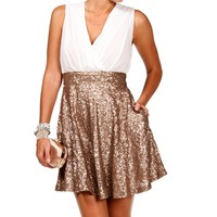Erin-Ivory/Gold Sequin Skater Dress