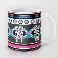 Day of the Dead Skull Stripe Mug by markmurphycreative