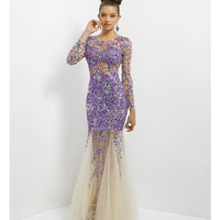 (PRE-ORDER) Blush 2014 Prom Dresses - Violet & Nude Tulle Long Sleeve Mermaid Prom Gown