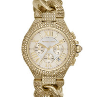 Michael Kors Mid-Size Golden Stainless Steel Twisted Camille Three-Hand Glitz Watch