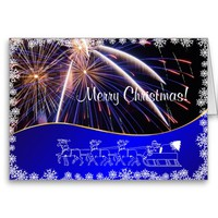 Blue Merry Christmas Fireworks felicitation