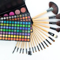 Frola Cosmetics Professional 183 Color Eyeshadow Blush and Contour Makeup Palette Collections + 19 Pcs Makeup Brush Set