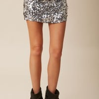 Exclusive Gunmetal Sequin Skirt