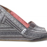 Black Nepal Weave Women's Wedges