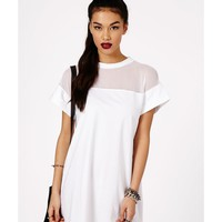 Missguided - Amara Mesh Panel Shift Dress In White