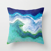 AQUA CRYSTALS Throw Pillow by catspaws