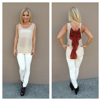 Rust Bow Back Chiffon Tank