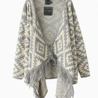 Gray & White Geometric Print Drape Sweater with Fringe Detai