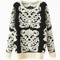 Black & White Floral Embroidered Sweater