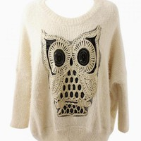 Off-White Owl Knit Sweater with Sequin Detail