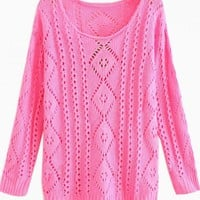Pink Light Knit Sweater with Cutout Detail