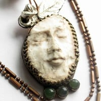 Lady of Fate Muse sterling copper polymer clay and jade necklace