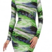 Green & Blue Abstract Print Long Sleeve Midi Dress