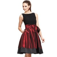SL Fashions Sleeveless Pleated Side Bow Dress