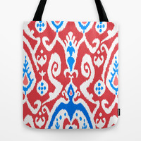 ikat in Red Roger Tote Bag by Miranda J. Friedman